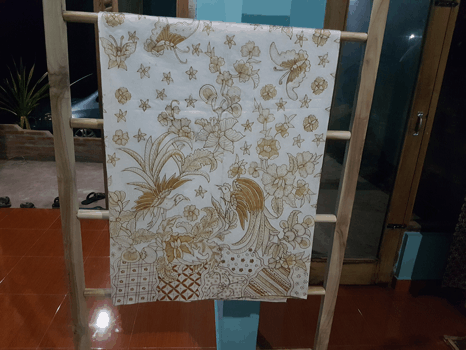 Wax Batik fabric using canting technique