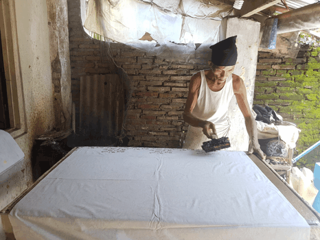 Handmade batik fabric on video completely