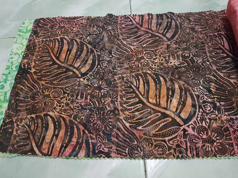 Batik fabric upholstery with stamp technique
