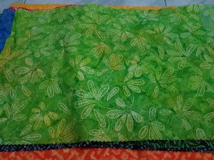 Batik leaf fabric with tie dye